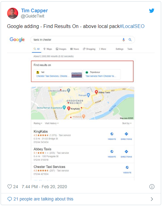 "Google Spotted Displaying ""Prominent"" Links to Third Party Services in Local SERPs"