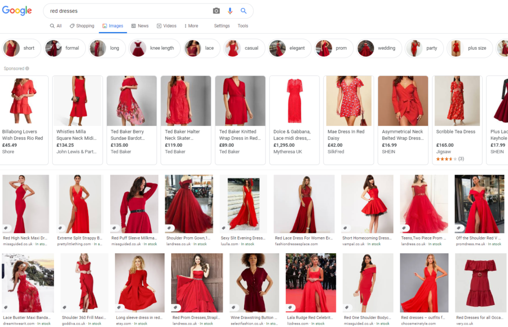 Google Images results for red dresses