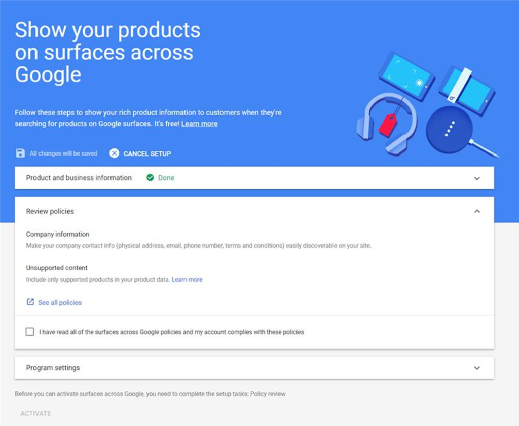 Screenshot of Google Merchant Center