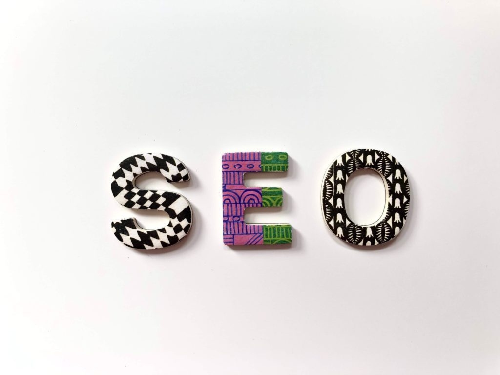 colourful letters spelling SEO