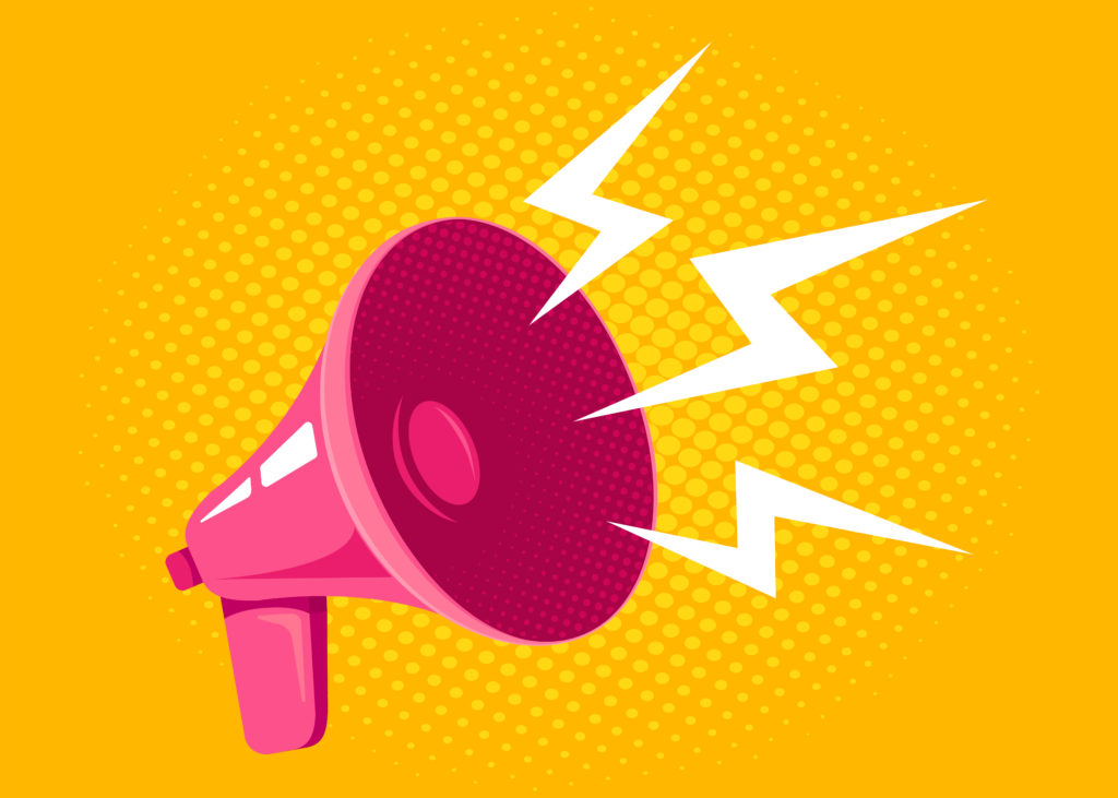 A pink megaphone on a bright yellow background