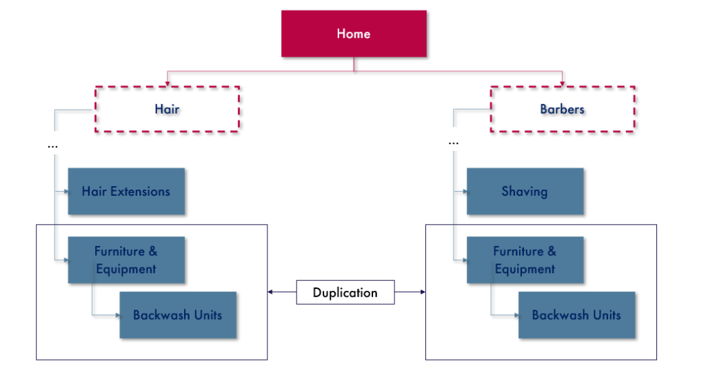 A flow chart demonstrating duplicate content sitting in different subfolders on Salon Services