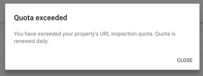 Google Search Console's URL submission quote exceeded message