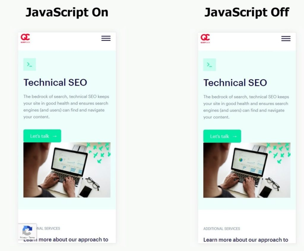 QueryClick's Technical SEO page with JavaScript both on and off