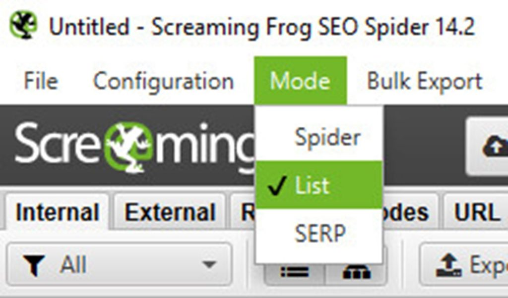 Changing Screaming Frog to List mode